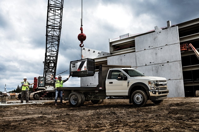 2020 Ford Super Duty Chassis Cab with dump body at worksite
