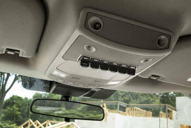 Six standard factory installed auxiliary upfitter switches in overhead console