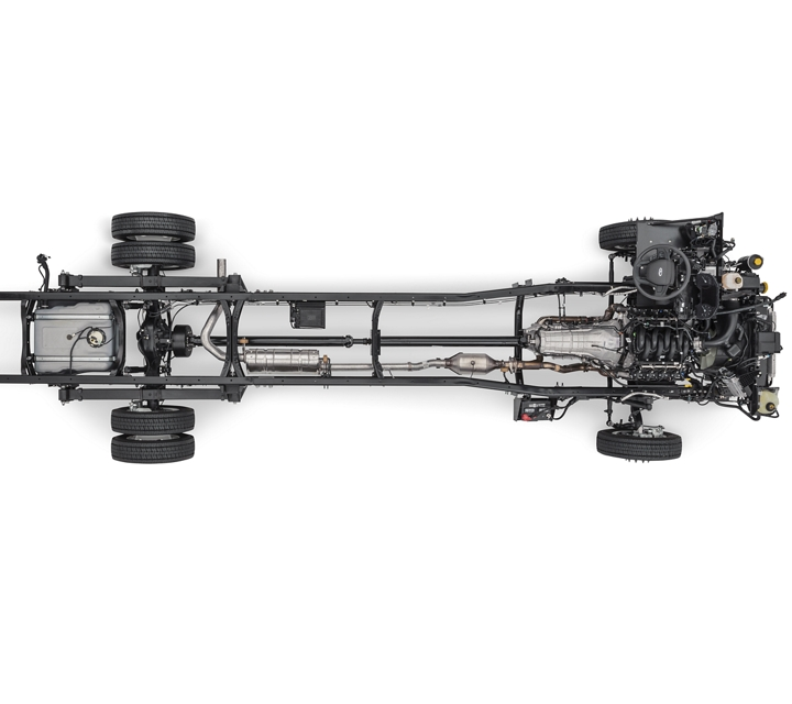 Overhead view of a 2022 F 350 Commercial Stripped Chassis