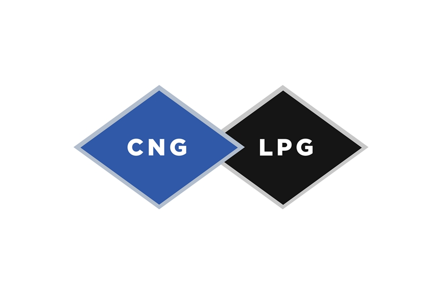 Side by side logos for natural gas or propane alternatives to unleaded gasoline logo
