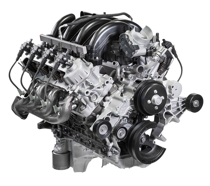 The standard 7 point 3 liter v 8 engine