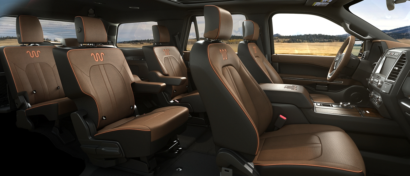 Spacious interior of 2021 Ford Expedition King Ranch showing plenty of passenger space