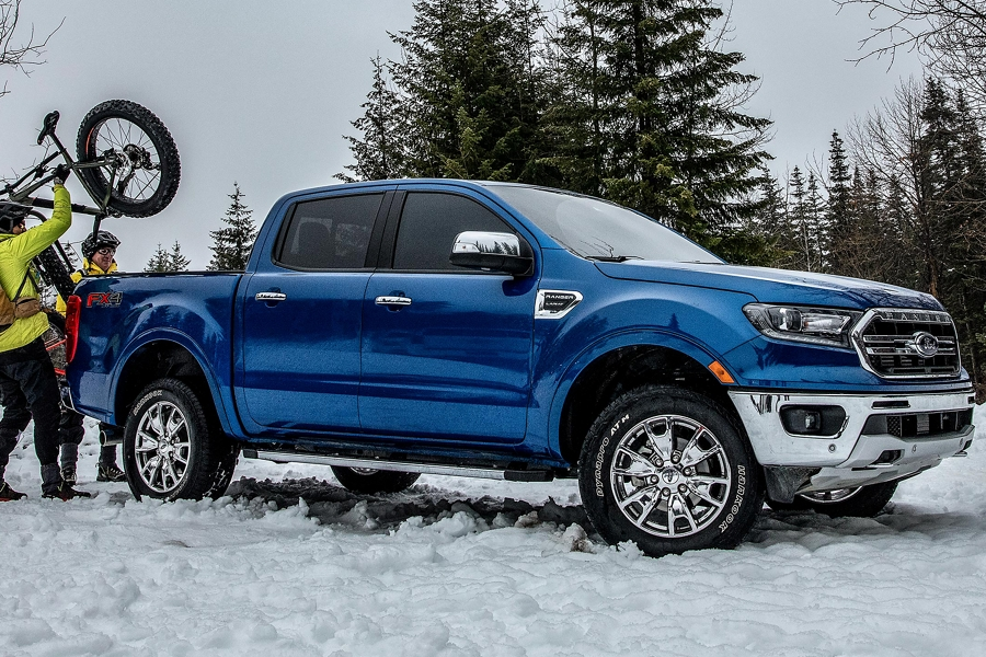 2020 Ford Ranger in Lightning Blue on a snowy day in the woods