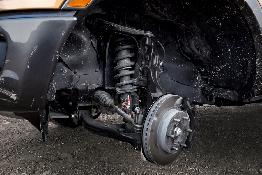 Close in view of independent front suspension with monotube shocks on a 2021 Ford Ranger